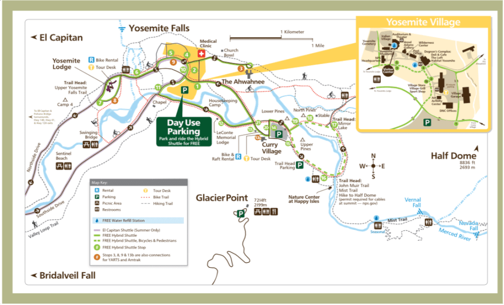 Mapa Yosemite Valley