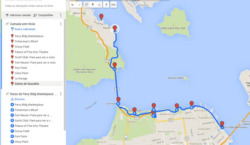 Mapa: Golden Gate de bicicleta