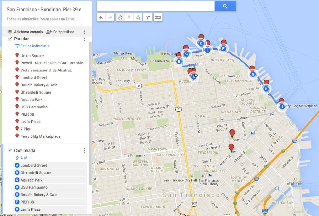 Mapa - San Francisco - dia 1