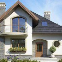 Proiect casa mica cu mansarda in stil mediteranean. Planuri si poze