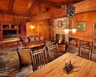 Interioare de vis din cabane rustice de lemn 12