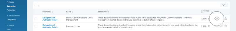 iDelegate | View category button