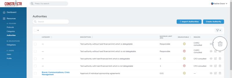 iDelegate | Delete authority button