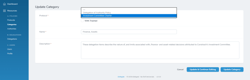 iDelegate | You can re-attach existing category to another policy