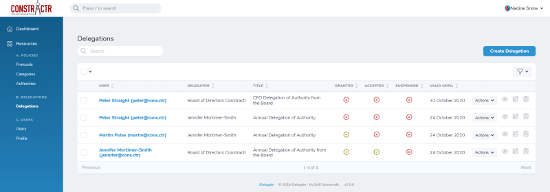 iDelegate | List of Delegations of Authority