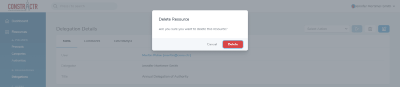 iDelegate | Delete individual authority confirmation