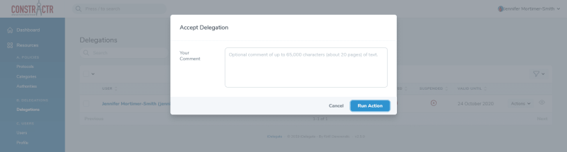 iDelegate | You may enter a comment when accepting your Delegation of Authority