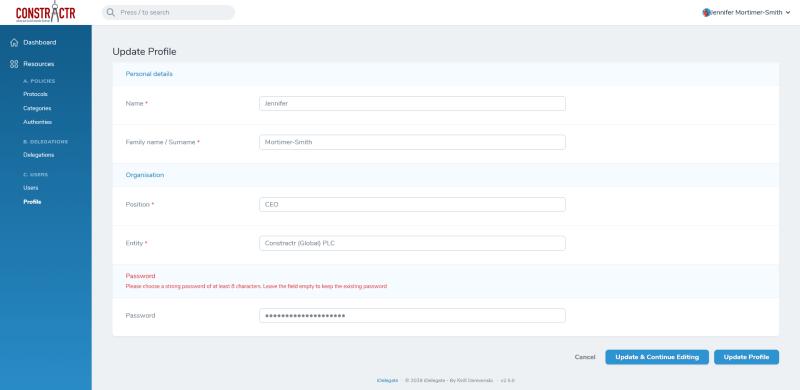 iDelegate | User profile