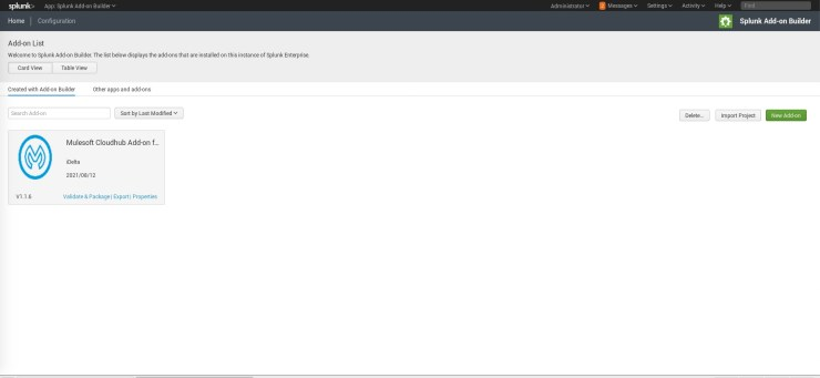 A screenshot of a Splunk screen, showing the Add-on Builder app. A list of add-ons is shown, containing the Mulesoft CloudHub Add-On for Splunk