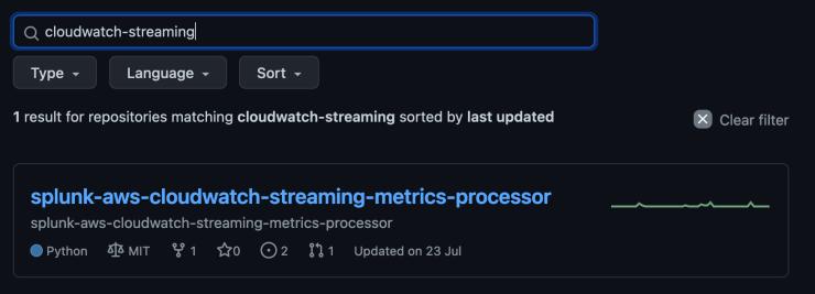 splunk github cloudwatch metric streaming screenshot