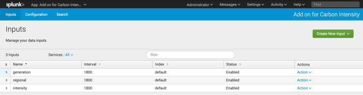 Splunk screenshot showing the data inputs for the carbon intensity add-on