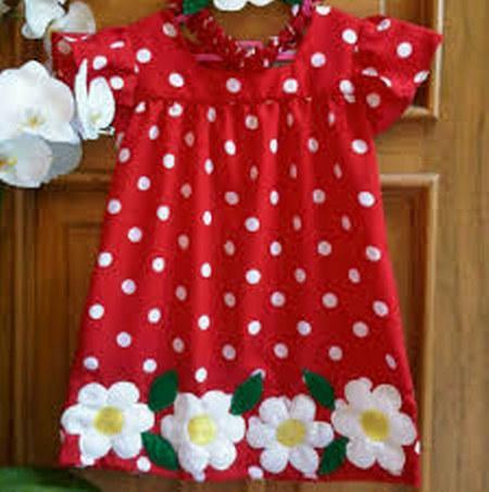 Dress polkadot merah bunga