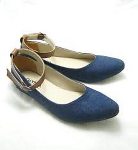 leather denim flat shoes