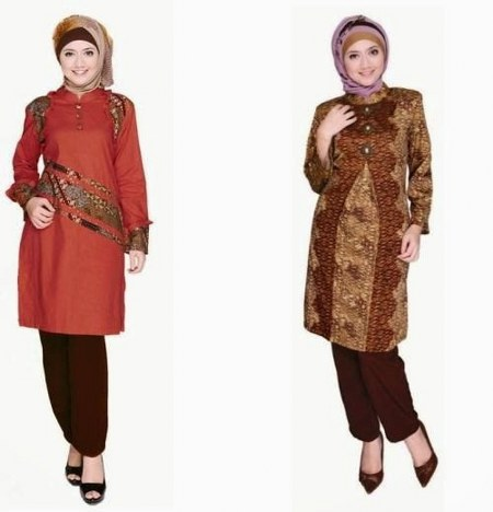 model-baju-batik-muslim-modern-wanita-terbaru-kombinasi