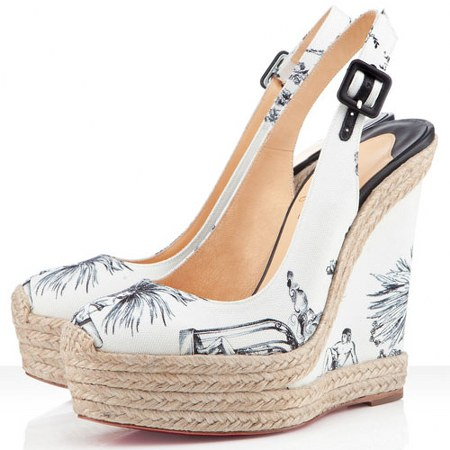 Christian Louboutin Everesta Cotton Wedges White