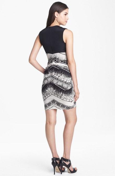 nicole-miller-black-white-batik-stripe-sheath-dress
