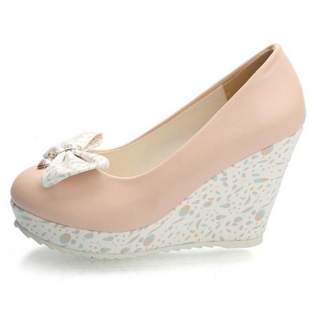wedges women pumps round toe white pink blue with bowtie