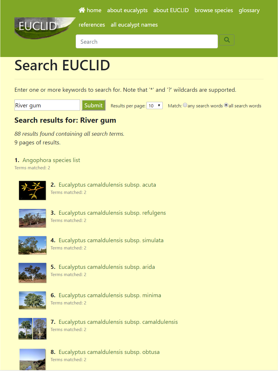 EUCLID search page