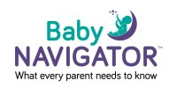 Logo for Baby Navigator: A baby reaching for stars while sitting on a crescent moon. Tagline: What every parent needs to know