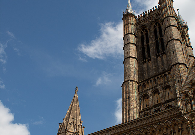 Ground view looking up at Lincoln cathedral