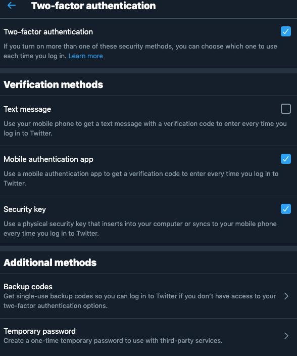 twitter's 2fa settings