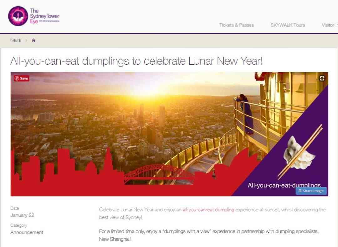 Sydney Tower Eye Lunar New Year 2018