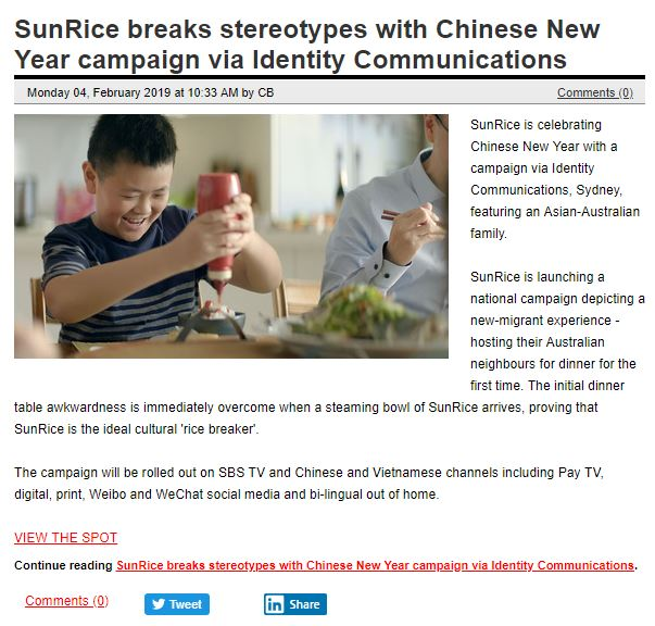 SunRice breaks stereotypes with Chinese New Year campaign via Identity Communications