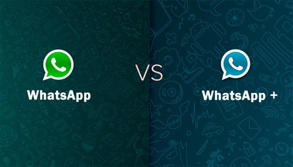 WhatsApp Plus y WhatsApp cara a cara. A través de esta imagen se quiere simbolizar la lucha que está teniendo esta aplicación contra su versión no oficial de color azul