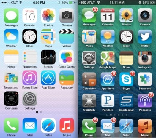 iOS 6 vs iOS 7 Homescreens
