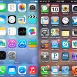 iOS 6 vs iOS 7 Homescreen