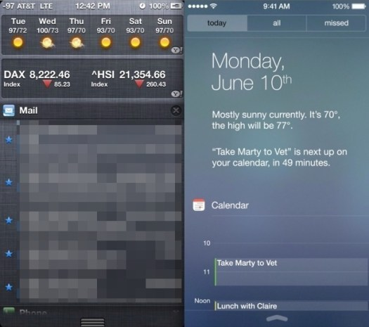 iOS 6 vs iOS 7 Notifications Center