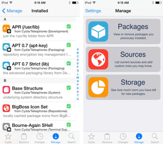 Tampilan Cydia iOS 7 Friendly