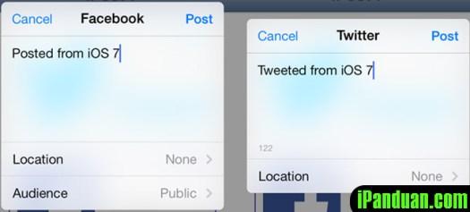 Twitter, Facebook, iOS7