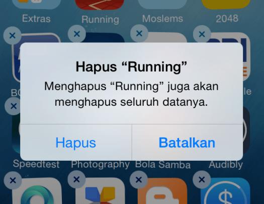 Hapus Aplikasi iOS (iPhone iPad)