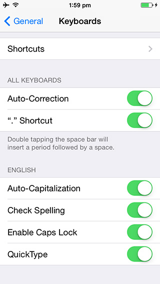 Setting Quicktype - iOS 8 Beta 3