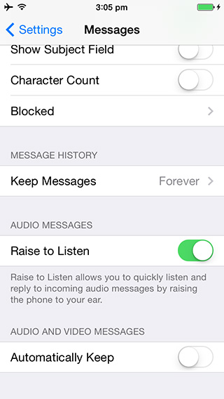 Simpan otomatis Media Messages - iOS 8 Beta 3