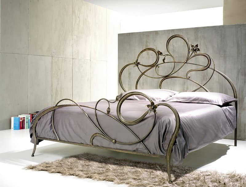 Double Bed In Wrought Iron, Curved Lines