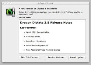 Nuance Dragon Dictate for Mac free upgrade from version 2.0 to 2.5 - use your iPhone as a wireless remote mic