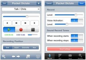 PocketDictate iPhone Digital Dictaphone App Screen Shot
