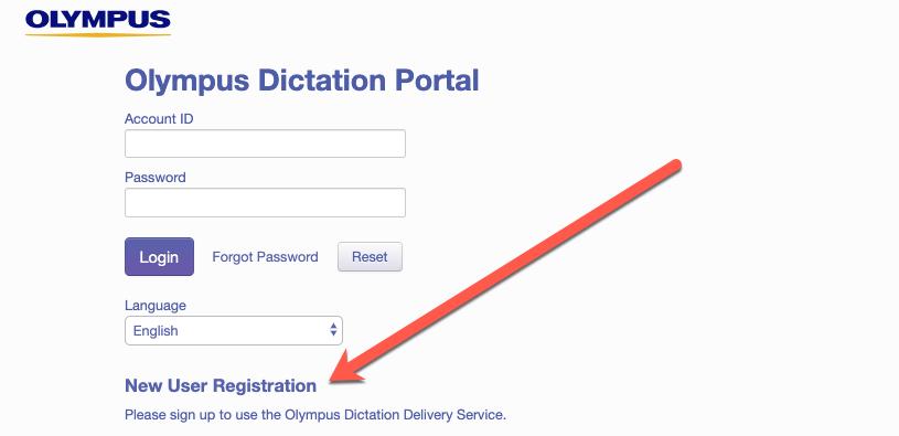 Olympus ODDS Dictation Portal New User Registration