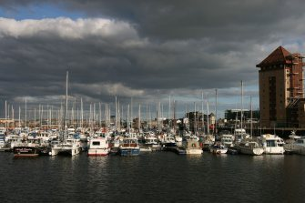 The yacht Marina on the river Tawe