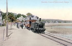 An early train operating on the Mumbles railway which ran along the bay