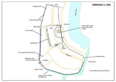 Castle outline of Swansea Castle
