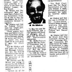 Siliakus on Federal intervention powers Tasmanian Mail July 1982