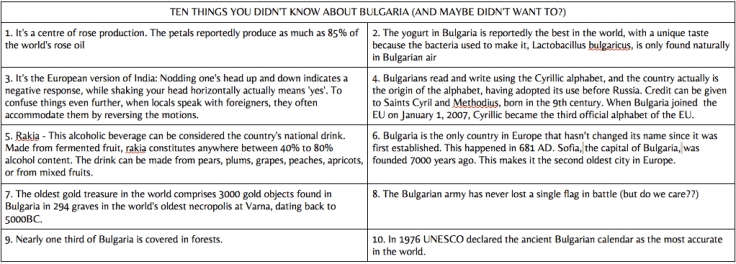 TEN THINGS YOU DIDN'T KNOW ABOUT BULGARIA