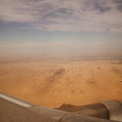 Flying into Abu Simbel, Lake Nasser in the distance