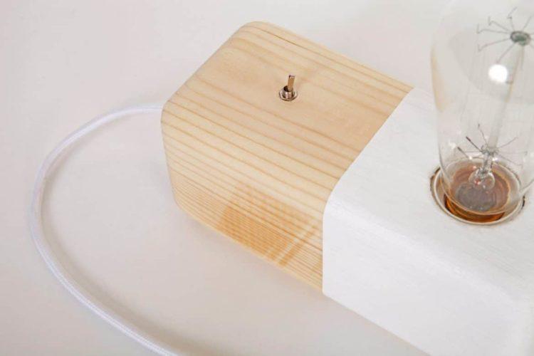 Wood Modern Handmade Table Block Lamp
