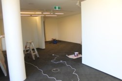 No. 13 - 'When words are hard to find' Solo Exhibition of Karen Robinson 6.5.15 Curator Tobias preparing Gee Lee-Wik Doleen Gallery for Exhibition.JPG