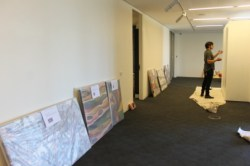 No. 14 - 'When words are hard to find' Solo Exhibition of Karen Robinson 6.5.15 Curator Tobias preparing Gee Lee-Wik Doleen Gallery for Exhibition.JPG