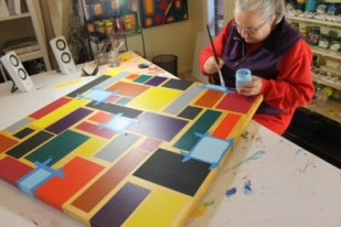 """No. 43 of 44 - Painting process for Painting No. 60 – Title """"Brick Wall"""" May 2015 – by Abstract Artist Karen Robinson NB All images are protected by copyright laws.JPG"""